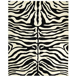 Safavieh Handmade Soho Zebra Print Black/ Ivory N. Z. Wool Rug (8'3 x 11')