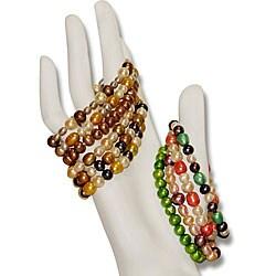 Multi-colored Pearl Elastic Bracelets (Set of 10)