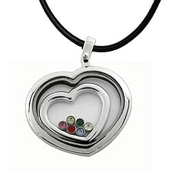 Stainless Steel Captive Heart and CZ Necklace