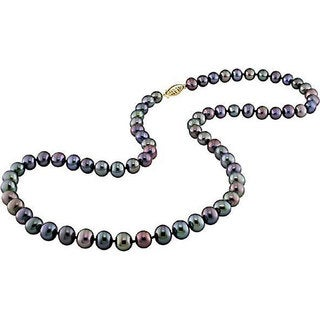 New York Pearls 14k Gold New York Pearls Black FW Pearl Necklace (6-6.5 mm)