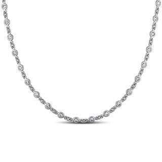 Miadora 14K White Gold 2 1/2ct TDW Diamond Opera Necklace with Bonus Earrings