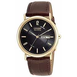 Citizen Men's BM8242-08E Eco-Drive Goldtone Case Brown Leather Watch