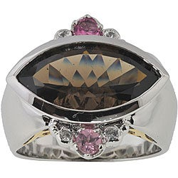 Michael Valitutti Palladium Silver Smokey Quartz Ring