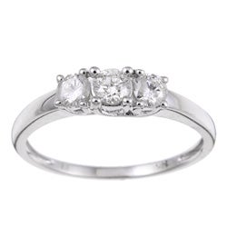 Miadora 14k Gold 1/2ct TDW Diamond 3-stone Crossover Bridal Ring (J-K, I2-I3)