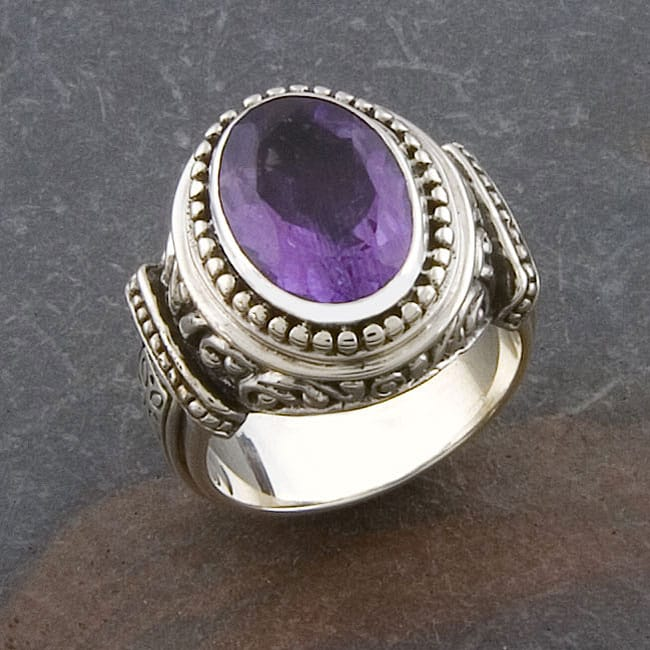 handmade sterling silver amethyst cawi ring indonesia