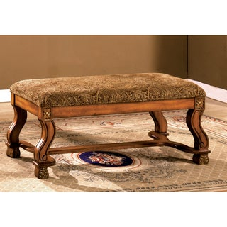 Furniture of America Solid Antique Oak Bench