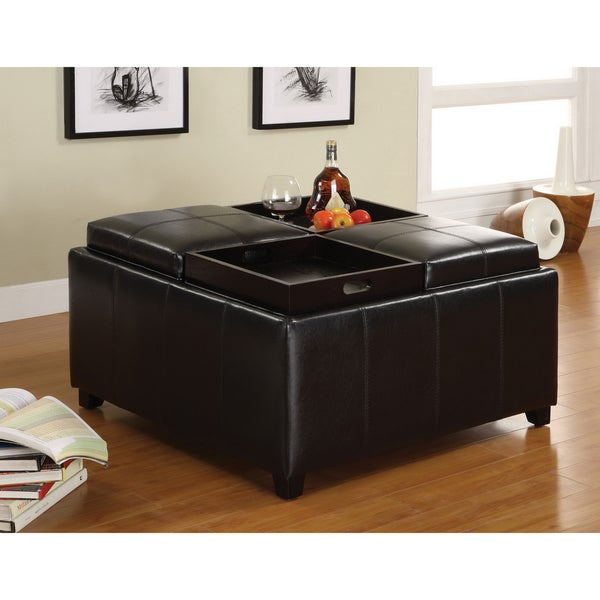 Furniture of America Espresso Storage Ottoman with Four Food Trays