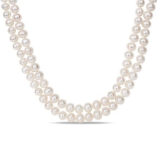 Miadora Sterling Silver 2-strand 9-10mm Cultured Freshwater Pearl Necklace (17-22 inches)