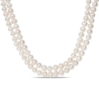 Miadora Sterling Silver 2-strand 9-10mm FW Pearl Necklace (17-22 inches)