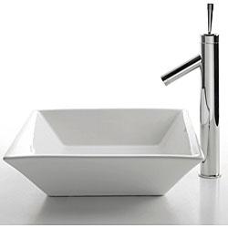 Kraus Square White Ceramic Lavatory Vessel Sink