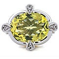 Michael Valitutti Silver Ouro Verde and White Sapphire Ring