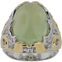 Michael Valitutti Palladium Silver Phrenite/ Sapphire Ring