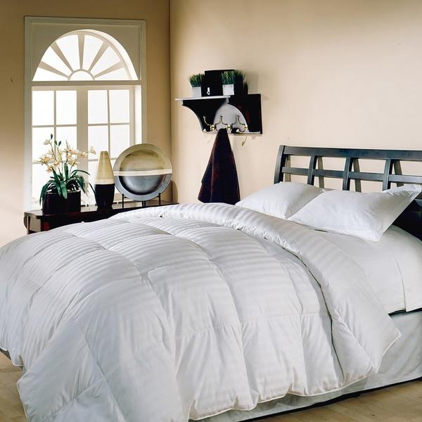 Hotel Grand Oversized 500 Thread Count Damask Stripe White Down Comforter