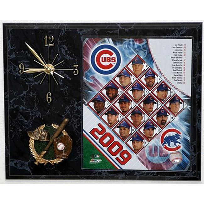 Chicago Cubs Team Picture Plaque Clock