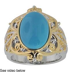 Michael Valitutti Palladium Silver Turquoise/ Sapphire Ring