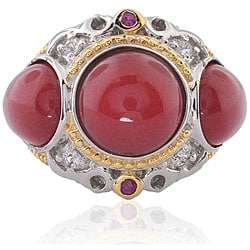 Michael Valitutti Silver Red Jade, Ruby and White Sapphire Ring