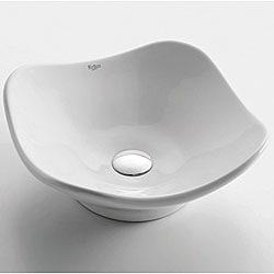 Kraus White Ceramic Tulip Lavatory Vessel Sink