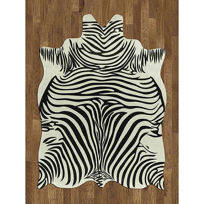 Zebra hide polyproplene rug 5 39 x 7 39 12009063 shopping great deals on acura - Faux animal skin rugs ...