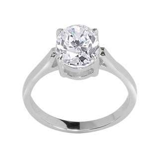 NEXTE Jewelry Silvertone Oval Cubic Zirconia Bridal-inspired Solitaire Ring