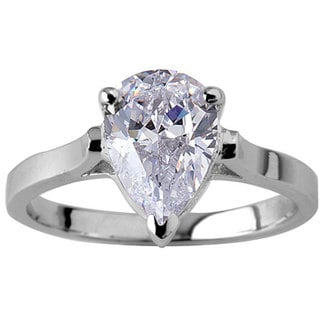 NEXTE Jewelry Rhodium-plated Simulated Pear-shaped Diamond Ring