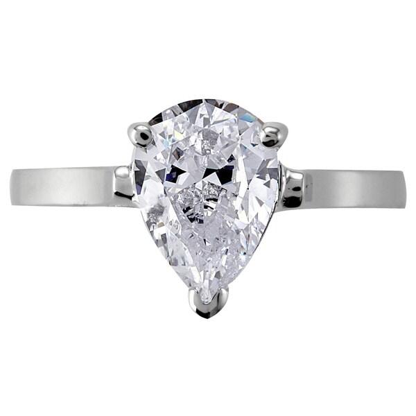 NEXTE Jewelry Rhodium-plated Simulated Pear-shaped Diamond Ring