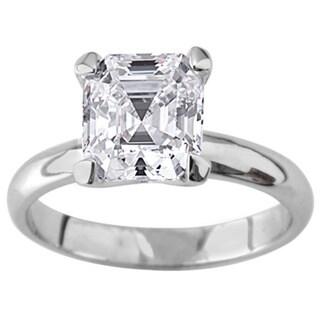 NEXTE Jewelry Silvertone Asscher CZ Bridal-inspired Solitaire Ring