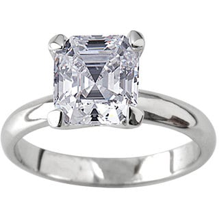 NEXTE Jewelry Silvertone Asscher CZ Bridal-inspired Solitaire Ring