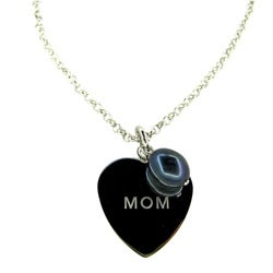Kabella Silver Pearl Charm 'Mom' Heart Necklace (7 mm)