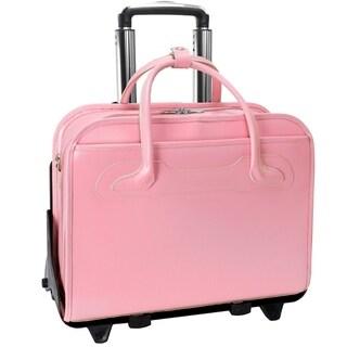 McKlein Willowbrook Pink Detachable-Wheeled Rolling 17-inch Laptop Briefcase