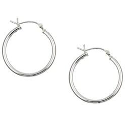 Sterling Essentials Sterling Silver 24mm x 2mm Hoop Earrings