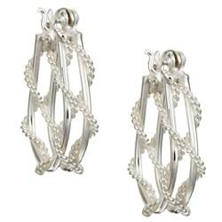 Sterling Essentials Sterling Silver Rope Hoop Earrings