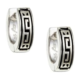 Sterling Essentials Sterling Silver Greek Key Hoop Earrings
