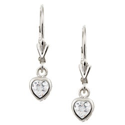 Sterling Essentials Sterling Silver 6.5-mm Cubic Zirconia Heart Drop Earrings