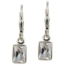 Sterling Essentials Sterling Silver Emerald-cut Cubic Zirconia Drop Earrings