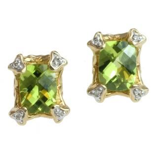 Michael Valitutti 14k Gold Peridot and Diamond Earrings