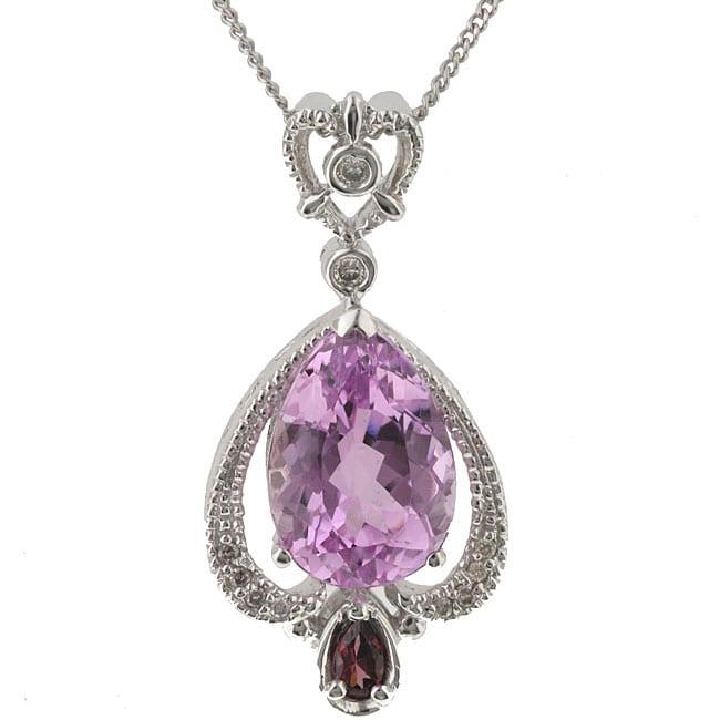 Michael Valitutti 14k Gold Kunzite and 1/10ct TDW Diamond Necklace