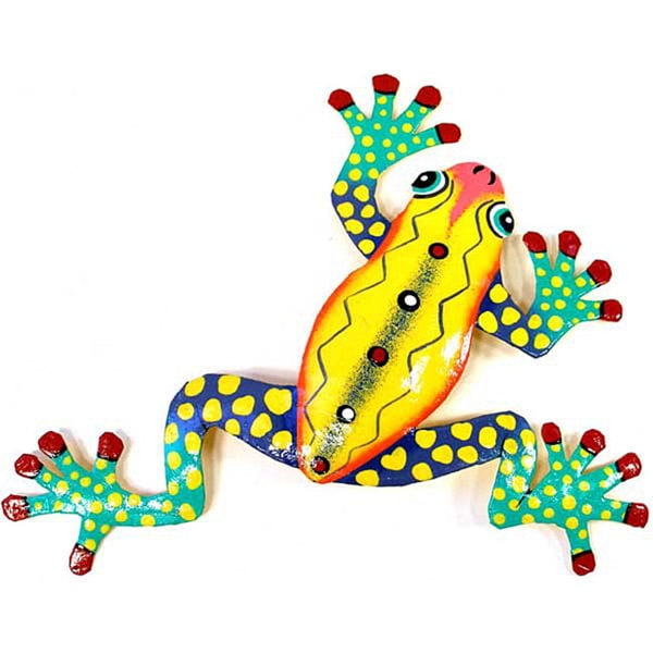 Recycled Oil Drum Yellow Frog Wall Art , Handmade in Haiti