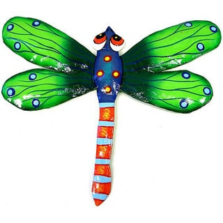 Metal 'Green Dragonfly' Wall Art (Haiti)