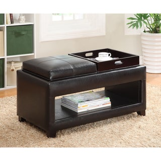 Furniture of America Vanity Storage Bench with Flip-top Tray