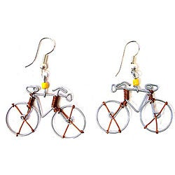 Tin Wire 'Bicycle' Earrings (Kenya)