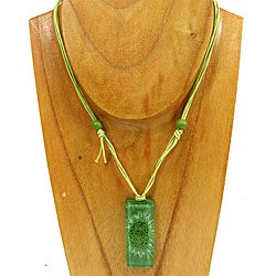 Fused Glass Green Bubble Rectangle Necklace (Chile)