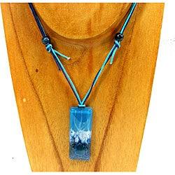 Fused Glass Blue Splash Rectangular Pendant (Chile)