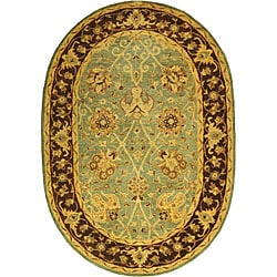 Handmade Traditions Teal/ Brown Wool Rug (7'6 x 9'6 Oval)