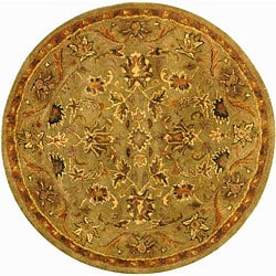 Handmade Antiquities Kasadan Olive Green Wool Rug (3'6 Round)