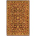 Handmade Exquisite Wine/ Gold Wool Rug (4' x 6')