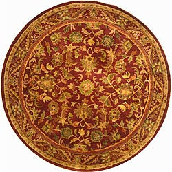 Handmade Exquisite Wine/ Gold Wool Rug (6' Round)