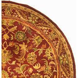 Safavieh Handmade Exquisite Wine/ Gold Wool Rug (8' Round)