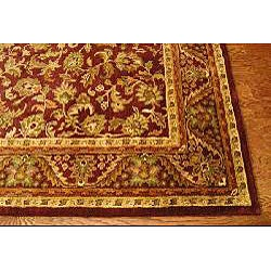 Handmade Exquisite Wine/ Gold Wool Rug (6' x 9')