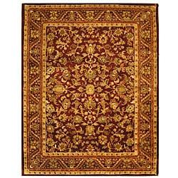 Handmade Exquisite Wine/ Gold Wool Rug (7'6 x 9'6)