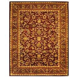 Safavieh Handmade Exquisite Wine/ Gold Wool Rug (7'6 x 9'6)